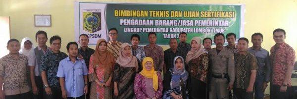Bimtek dan Ujian Sertifikasi PBJP di BKPSDM Lombok Timur